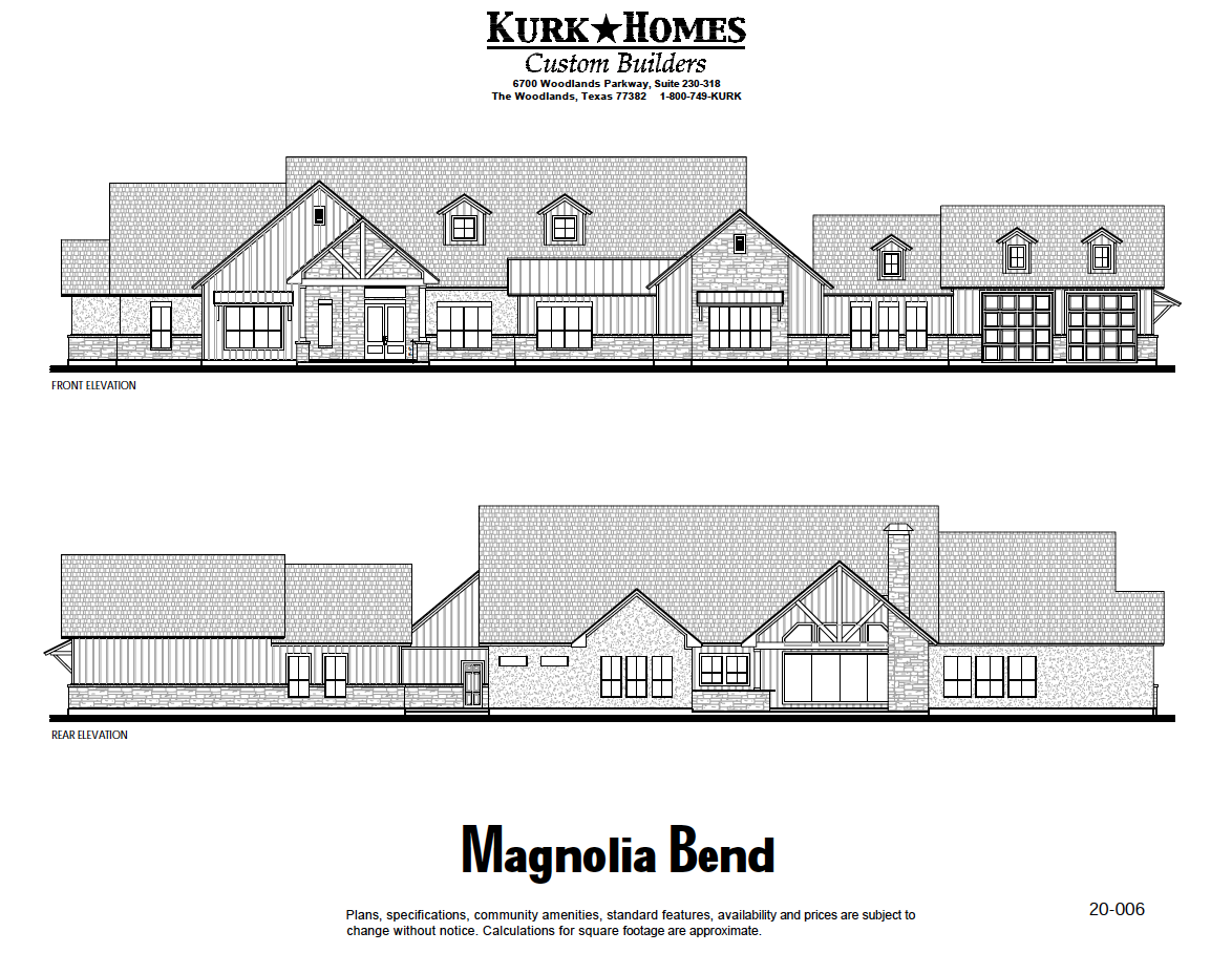 The Magnolia Bend - Front Elevation