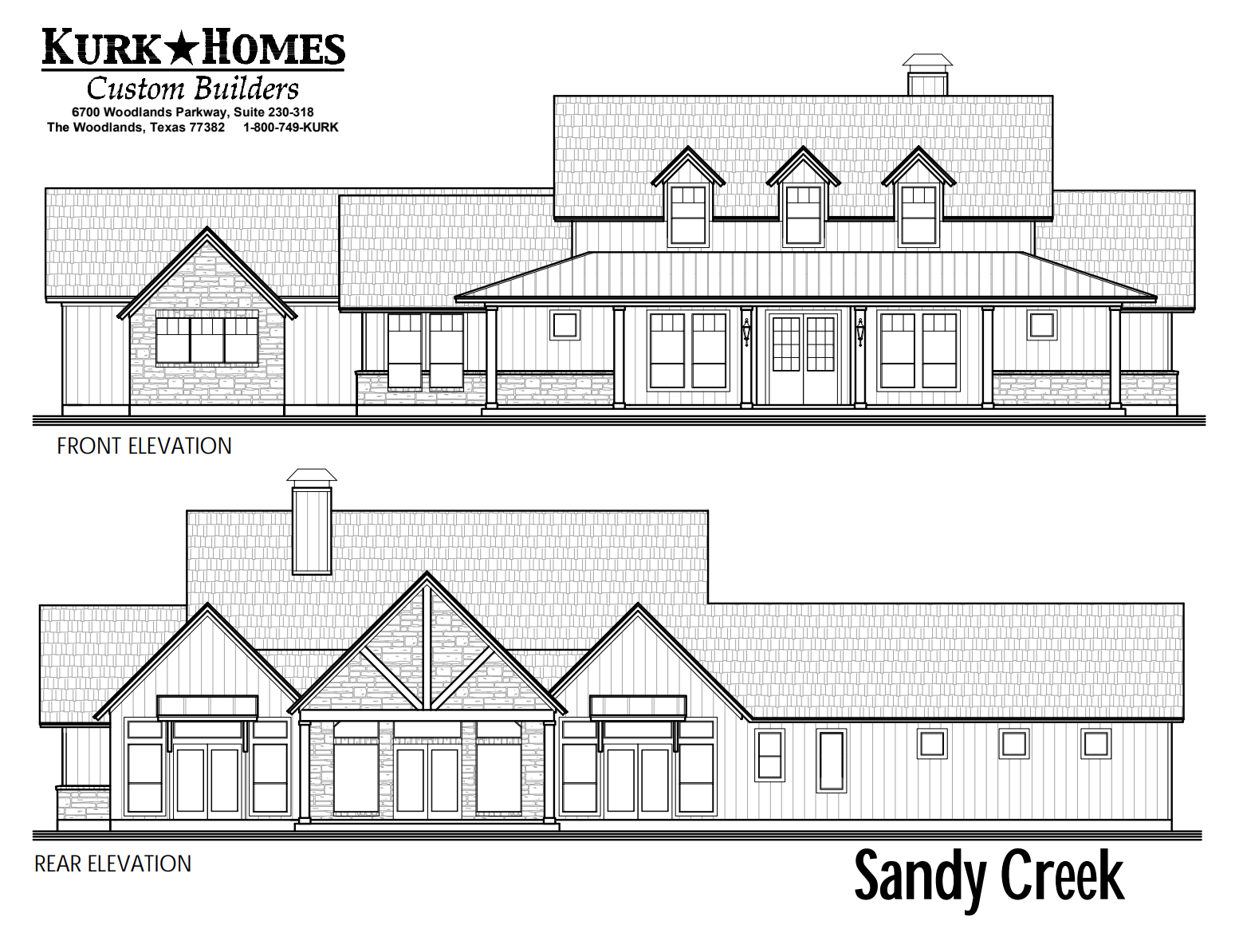 The Sandy Creek - Front Elevation
