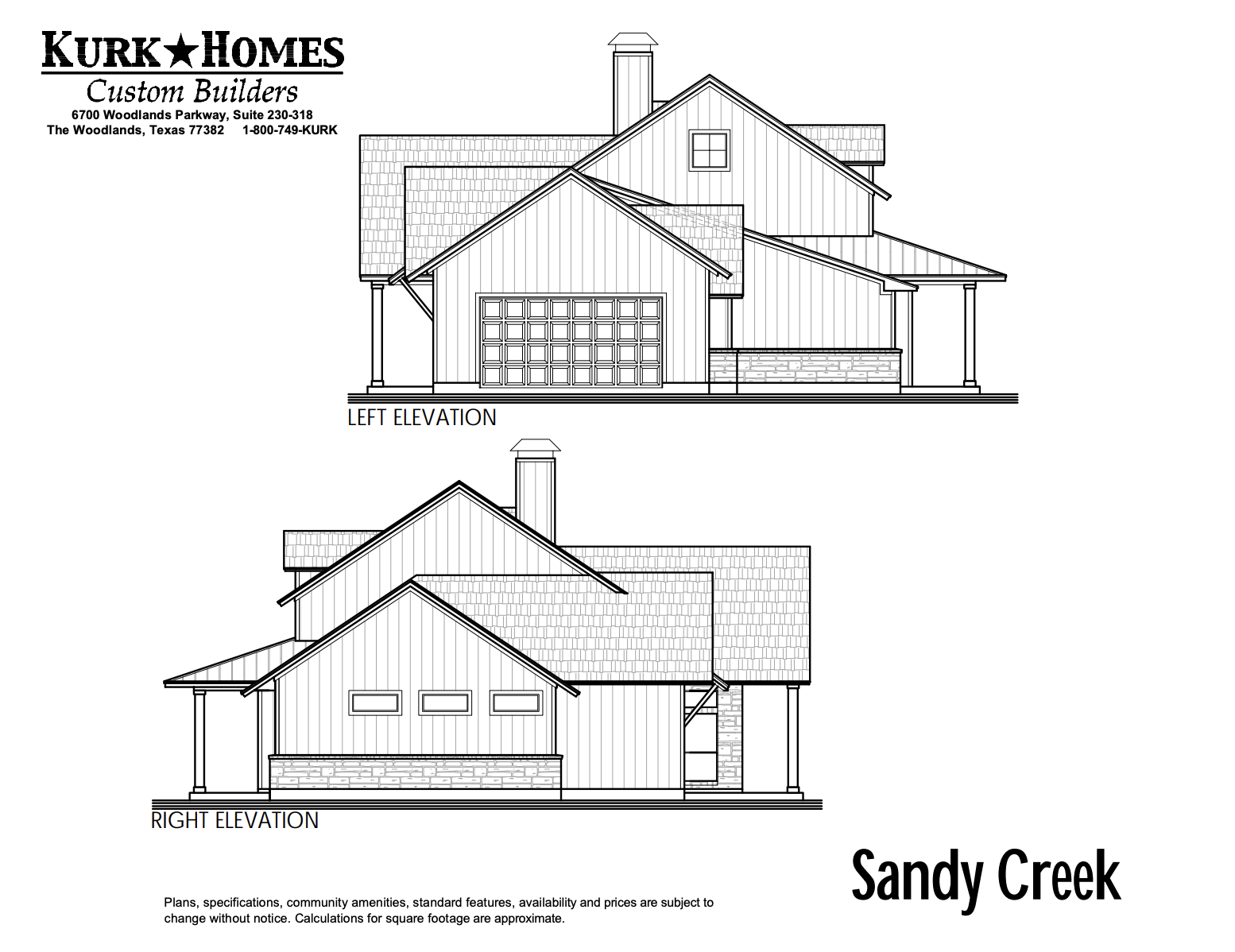 The Sandy Creek - Side Elevation
